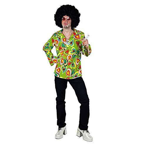 NET TOYS Stylisches Hippie-Hemd für Herren - Grün XL (56/58) - Witziges Männer-Kostüm-Zubehör Buntes 70er Jahre Oberteil - EIN Blickfang für Karneval & Mottoparty