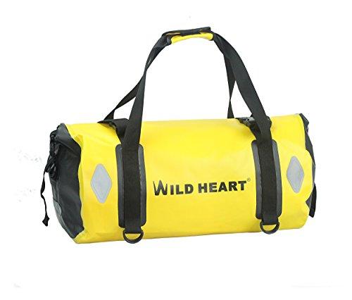 WILD HEART Bolsa de Lona Impermeable 20L 30L 40L con Costuras soldadas Correas de Hombro, Bolsillo de Malla para Kayak, Camping, Paseos en Bote, Bicicleta, Motocicleta