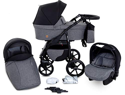 Boston 3 in 1 Kombi Kinderwagen Liegewanne Buggy Autositz Carlo (B2-City life)
