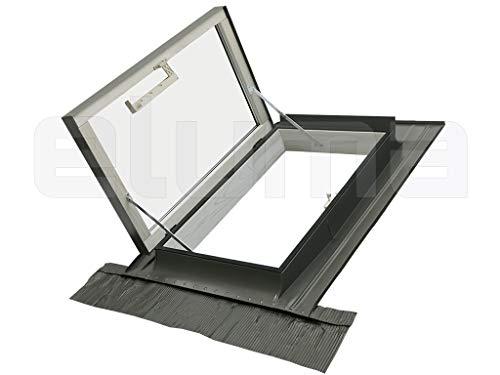 Ausstiegsfenster - modell CLASSIC LIBRO/Dachfenster + Eindeckrahmen/Oberlicht/Aufklappbar mit Türfunktion/Zugang zum Dach/Doppelglas (55x78 Breite x Höhe)