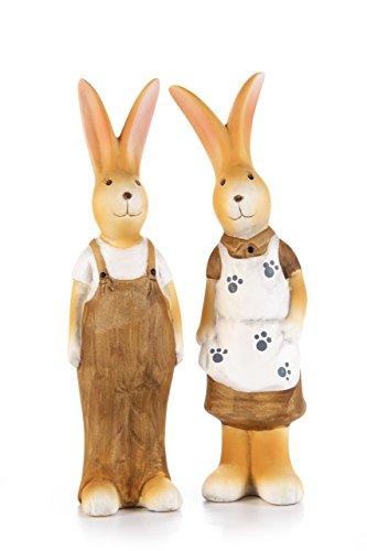 HEITMANN DECO 2 Hasenfiguren aus Keramik - Dekofiguren für Garten und Haus - Keramikfiguren für Ostern - Osterhasen, Frühling, Deko
