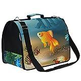 Amonka - Transportín para mascotas con diseño de peces de coral para perros pequeños, medianos y pequeños, bolsa de viaje plegable con alfombrilla de repuesto cómoda