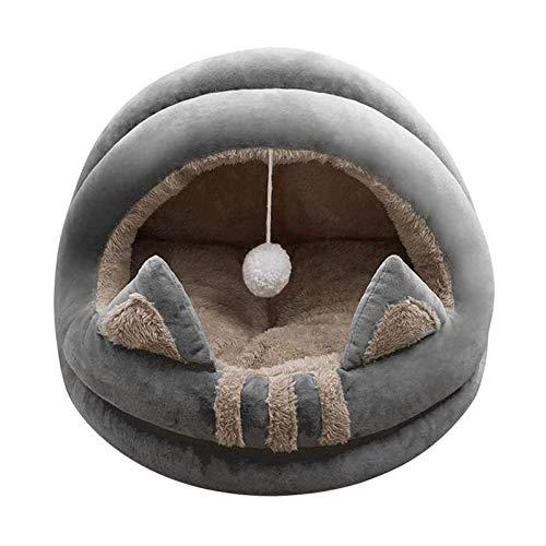 OMVOVSO Casa para gatos con forma de cavole para gatos, cama mullida y mullida para cuevas, cama para animales, gran y acogedor, sofá cálido para mascotas, gatos, gatitos y cachorros, gris, S