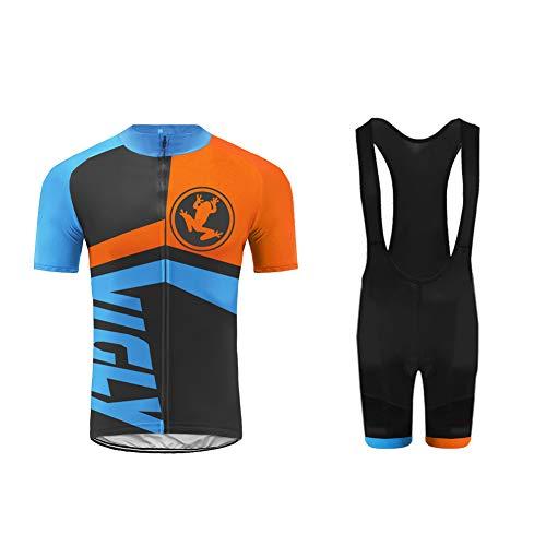 UGLY FROG Ropa Ciclismo, Conjunto Ciclismo Hombre Conjunto de Camisetas de Ciclismo Primaveral y Verano Pantalones de Ciclismo con Cojines Acolchado 4D