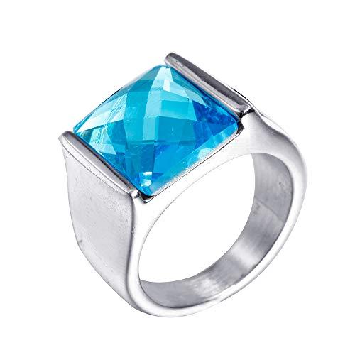 PAURO Hombre Acero Inoxidable Corte de Diamante Anillo de Piedras Preciosas Ágata con el Lado Plateado Pulido, Azul Tamaño 14