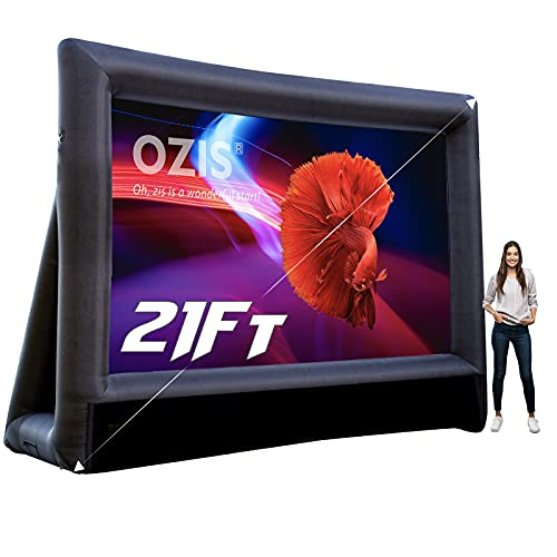 OZIS 21Ft Inflatable Movie Screen Outdoor - Blow up Mega Movie Projector Screen with 350W Blower Include - Front and Rear Viewing Supported - Easy to Set Up