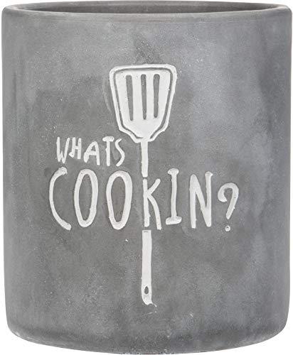 Home Essentials Round Modern Concrete Gray Utensils Crock 'Whats Cooking'