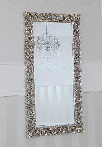 SIMONE GUARRACINO LUXURY DESIGN Specchiera Zaafira Stile Barocco Cornice Traforata Foglia Argento Mecca Specchio molato cm 175 x 87