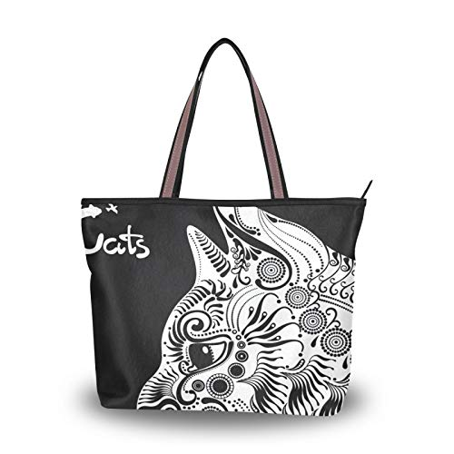 for Women Girls Ladies Student Shoulder Bags Light Weight Strap White Cat Tote Bag Purse Shopping Handbags
