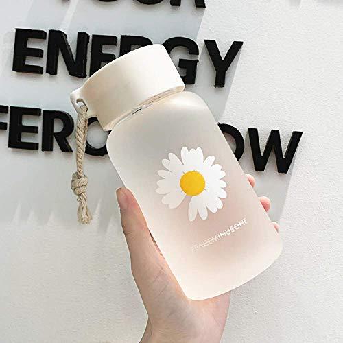 N\C 500ml pequeñas margaritas botellas de agua plásticas BPA libre creativo helado botella de agua con cuerda portátil viaje taza de té