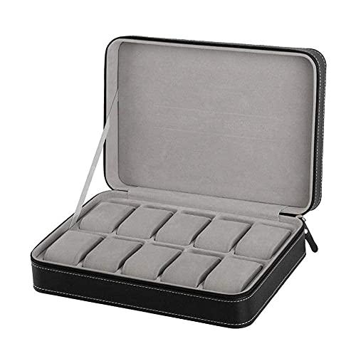 LHJCN Caja de joyería para reloj – 2/6/10/12 cuero/fibra de carbono caja de almacenamiento de joyería caja organizador para anillos pulsera soporte caso