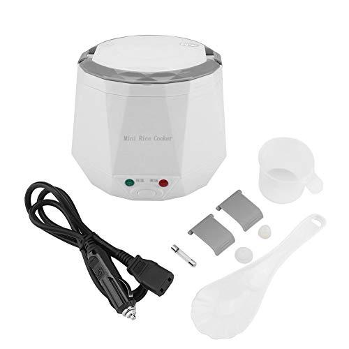 Elektrischer Reiskocher, 24V 140W 1,3 l Dampfgarer zum Kochen von Reis, Haferbrei, nahrhaften Eiern und Wärmenden Gerichten(Weiß)