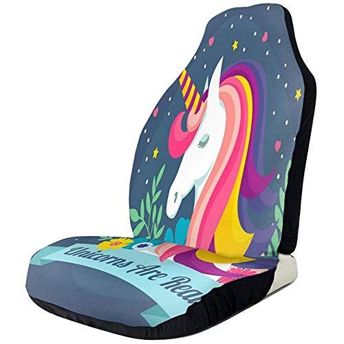 Alice Eva Couverture de sièges de voiture Unciorn sont de véritables motifs de dessins animés avec protège-siège de siège baquet universel Couverture de sièges avant Couverture