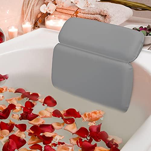 HOUT® Badewannenkissen | Badewanne Zubehör & Badekissen mit 7 verbesserten rutschfesten Saugnäpfen | Spa Kissen & Bad Zubehör | Luxus-Badaccessoires für Whirlpool, Badewannen und Spa (Grau)