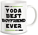 Yoda Best Boyfriend Ever Funny Coffee Mug Boyfriend Gag Gifts for Partner Lover BF Men Unique Couples Dating Valentines Anniversary Christmas Birthday Novelty Cup Present Idea For Him From Girlfriend