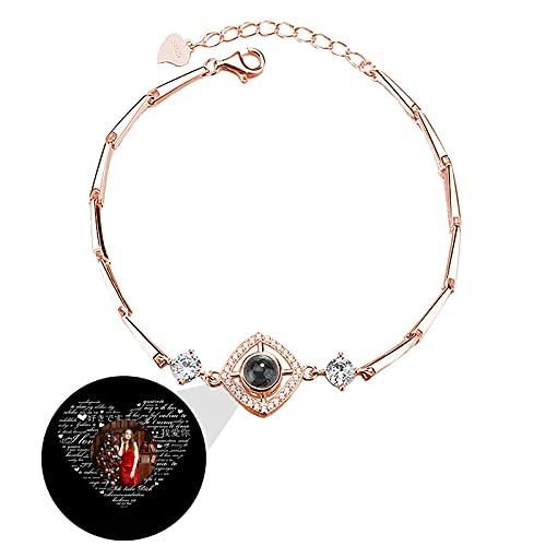 Pulsera de 100 idiomas TE QUIERO pulsera de proyección pulsera de foto personalizada brazalete de geometría Navidad para mujer(Oro rosa a todo color)