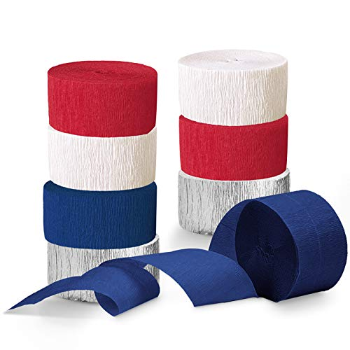 NICROLANDEE Patriotic Decorations - 8 Rolls Red White Blue Crepe Paper Streamers Tassels Streamer Paper for 4th of July Decorations Independence Day Memorial Day American Theme Party Decorations
