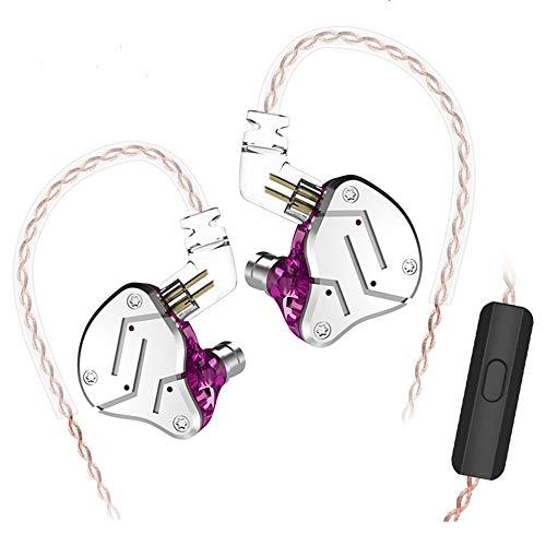 Yinyoo KZ ZSN Cuffie Auricolari HiFi Auricolari Bassi Stereo Auricolari 1DD + 1BA con 2 Pin Cuffie Staccabili per Isolamento Acustico (Viola con Microfono)