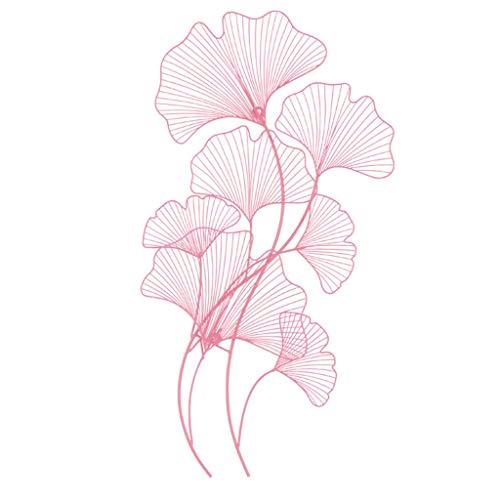 Desktop-Skulptur Pflanze Schmiedeeisen Anhänger Wanddekoration Wohnzimmer Hintergrund Wand Metall Ginkgo Blatt Übergroßen 92 * 48,5 * 7 cm (Color : Pink)