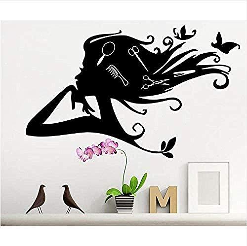 DIY Vinyl PVC verwijderbare muursticker schoonheidssalon tattoo muur schaar wijnwinkel showcase mobiele schoonheid poster keuken 57 * 90cm