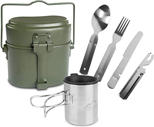 normani Outdoor Geschirr-Set bestehend aus Bundeswehr Kochgeschirr, 5-teiligem Besteck und Tasse mit klappbarem Henkel und Deckel - rostfrei und hitzebeständig Farbe Olive