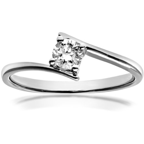 Naava Women's 18 ct White Gold J/I1 Certified 0.25 ct Diamond Round Brilliant Crossover Solitaire Engagement Ring, Size N