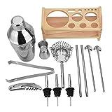 13 Stück Edelstahl Cocktail Shaker Mixer Trinker mit Holzhalter Stand Trinkwerkzeugleiste Holzrahmen Set Edelstahl Shaker