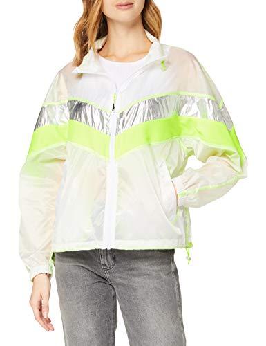 Urban Classics Ladies 3-Tone Light Track Jacket Cortavientos, blanco/plateado, XL para Mujer