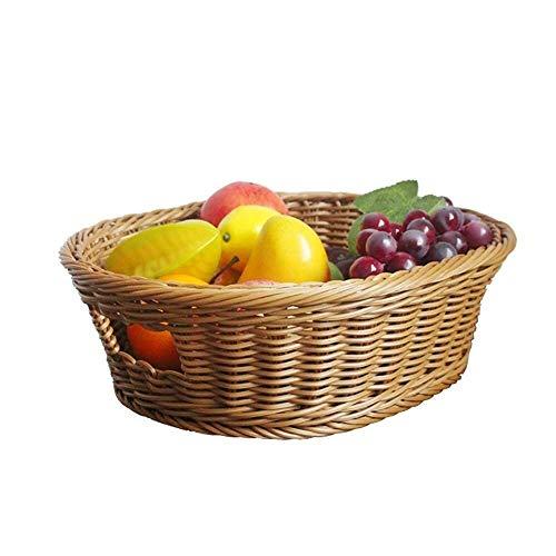 Gymqian Plateau de Fruits Tissage de Bois Fleur Basket Storage Légumes Fruits de Fruit de Fruit Panier Panier de Pique-Nique Panier de Pique-Nique (37 * 30 * 12Cm) Haut de gamme