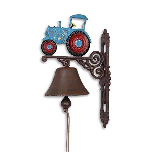 Moritz gietijzeren wandklok tractor blauw rood klok deurbel 37 cm hoogte huisklok antieke stijl bruin bel versierd