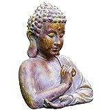 ALIANG Adornos de decoración de jardín Escultura de Cabeza de Buda de jardín Busto de Buda en el Parque al Aire Libre Villa Decoración de óxido de magnesio