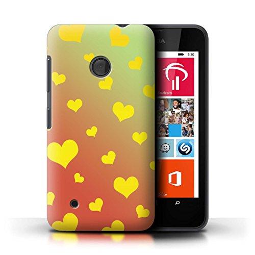 Custodia/Cover/Caso/Cassa Rigide/Prottetiva STUFF4 stampata con il disegno Modello Ombre per Nokia Lumia 530 - Cuore Amore/Giallo