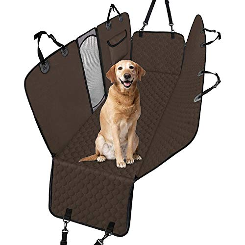 Taygeer Dog Car Seat Cover, Back Seat Cover for Dogs with Mesh Window and Side Flaps Dog Hammock with Storage Bag Waterproof Nonslip, Car Seat Protector Boot Liner - Brown