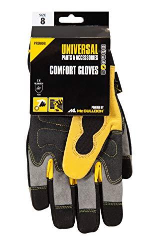Universal Handschuhe Größe 8, PRO008: Arbeitshandschuhe für Gartenarbeiten, lederverstärkte Innenfläche, wasserresistente Polyester-Rückseite (Artikel-Nr. 00057-76.165.18)