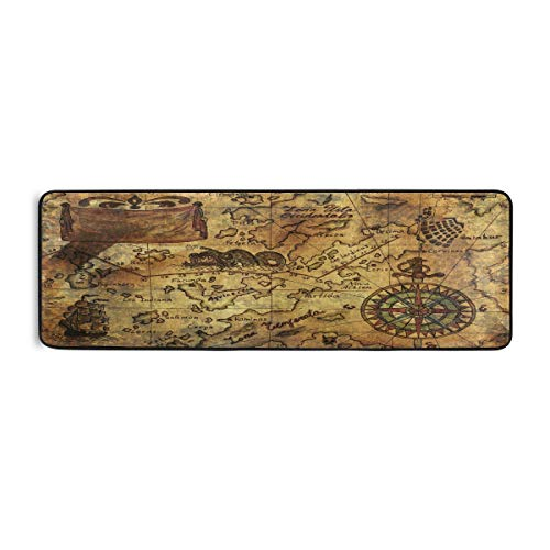 ALAZA Vintage Retro Old Pirate Map Compass Runner Area Rug Non Slip Floor Mat for Hallway Entryway Living Room Bedroom Dorm Home Decor 72x24 inches