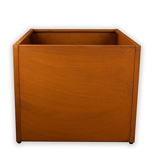 Köhko® Designer Pflanzkübel aus Cortenstahl Pflanzgefäß QUADER 60x60x50 cm