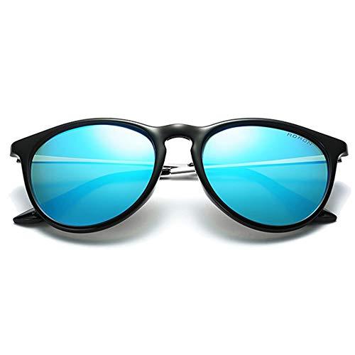 Hancoc Trend - Gafas de sol polarizadas metálicas para hombre y mujer (color: azul)