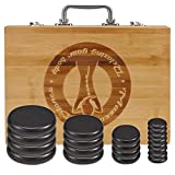 20 Pcs Hot Stones for Massage with Bamboo Warmer, Basalt Hot Massage Stones with Heater Box, Electric Hot Stone Massage Set for Professional or Home Spa, Relaxing, Healing, Pain Relief