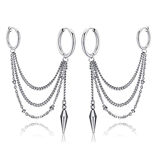 Anjing 2 pendientes de aro de acero inoxidable para mujer, San Valentín, día de la madre, conciso, plata de ley