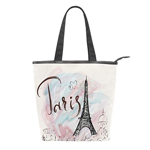 Paris Eiffel Tower Canvas Tote Bag Romantic France Heart Reusable Grocery Bags Shopping Handbag Casual Shoulder Bags Storage Organizer for Gym Picnic Travel School Women Girls Use