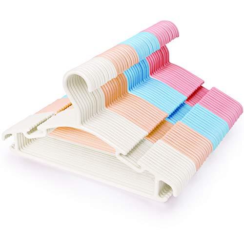 ilauke Juego de 48 Perchas de Plástico para Ropa para Niños, Perchas de Colores que Ahorran Espacio en el Armario