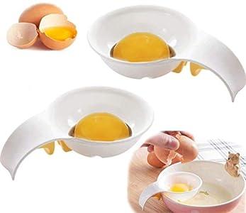 MU XI Separador de Yemas Claras de Huevos Gadget de Cocina Herramienta para Hornear(2 Pack)