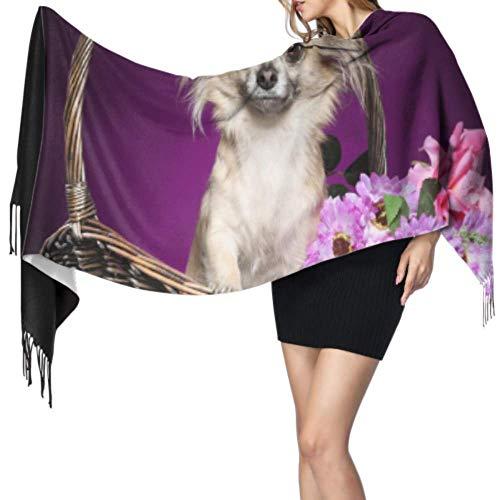 Chal cálido para mujer, chal largo, chal chihuahua, ramo de flores sentadas, cesta de mimbre, gran suave, imitación de cachemira, chales, bufanda, bufanda ligera