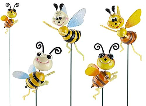Roots & Shoots SET OF 4 HAPPY BEES WITH MOVING WINGS GARDEN ORNAMENT DECORATION NOVELTY BRIGHT