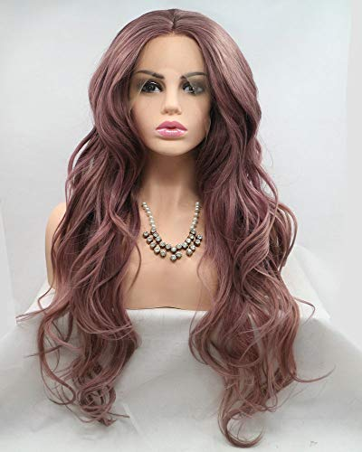 """Female Cosplay Party Hairstyle Blend Reddish Brown Lace Front Wig,Natural Hairline Drag Queen Wigs Glueless Cap Long Wavy Hair,Synthetic Lace Front Wigs for Women Flawless 24"""""""