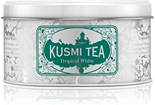 Kusmi Tea - Tropical White - Mango and Passion Fruit Flavored White Tea Blend - 4.4oz of All Natural, Premium Loose Leaf White Tea Blend in an Eco-Friendly Metal Tin (50 Servings)
