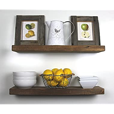 SOLID RUSTICS Handmade Rustic Wood Floating Wall Shelves, Walnut, Set of 2, (24  Walnut)
