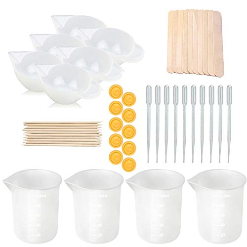 Tazas medidoras de silicona para resina, 50 piezas Kit de herramientas de tazas antiadherentes para mezclar Tazas de silicona de 100 ml con varillas para mezclar Cuentagotas para arte de resina epoxi