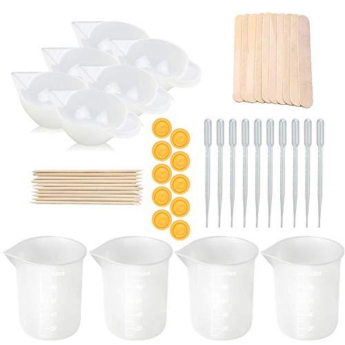 Misurini in silicone per resina, kit di strumenti per tazze di miscelazione antiaderenti da 50 pezzi Bicchieri in silicone da 100 ml con contagocce per resina epossidica