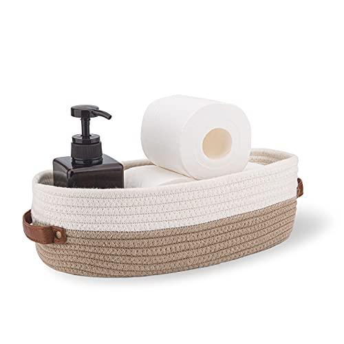 Oradrem - Cesta para decoración de baño, cuerda de algodón, cesta para papel higiénico, decoración del hogar, cestas organizativas de 33 x 15 x 10 cm, costuras marrones, color...